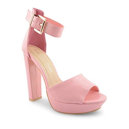Oro mujer para Hebilla Strappy fiesta Plataforma alto tobillera Toe talón New Glam zapatos Peep Rosa Ladies de sandalias noche 4fvqnt