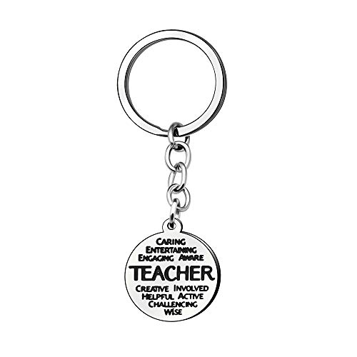 Teacher Appreciation Week Gifts Round Engraved Pendant Key Ring Key Chain Car Key Accessories For Teacher Christmas Gifts