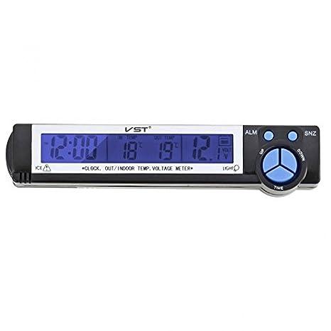 Amazon.es: Desconocido Voltaje Temperatura de Reloj Termómetro Digital Monitor de Batería Medidor Automático Coche - 1