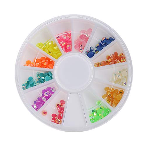xxiaoTHAWxe Colorful Fluorescent 3D Acrylic Glitters DIY Decal Nail Art Tips Stickers Wheel ()