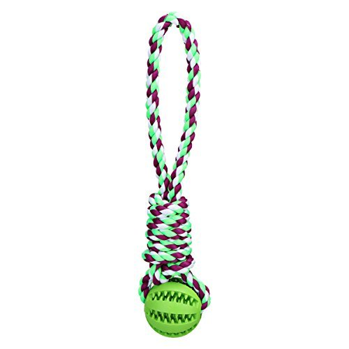 TAILMATE Dog Chew Rope Toys with Natural Rubber Ball for Tug of War and Aggressive Chewers (Green1)