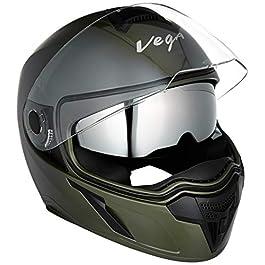 Vega Ryker D/V Full Face Helmet (Dull Battle Green, Medium)