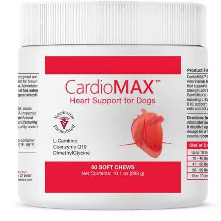 Pet Health Solutions CardioMAX Heart Support Supplement for Dogs - L-Taurine, L-Carnitine, EPA and DHA, Coenzyme Q10 - Aids Circulatory Strength, Heart Muscle Function - Made in USA - 60 Soft Chews ()