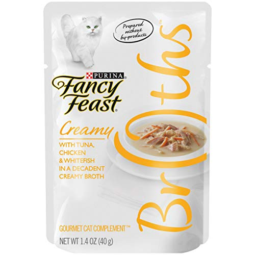 Purina Fancy Feast Wet Cat Food Complement, Broths Creamy With Tuna, Chicken & Whitefish in Broth - (16) 1.4 oz. Pouches from Purina Fancy Feast