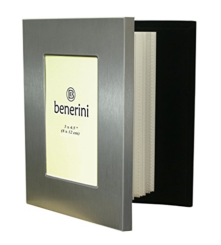 Brushed Silver Album Frame - benerini Brushed Aluminum Satin Silver Color Front - Free Standing Photo Album - Holds 48 photos 4 x 6 Inches (10 x 15 cm)