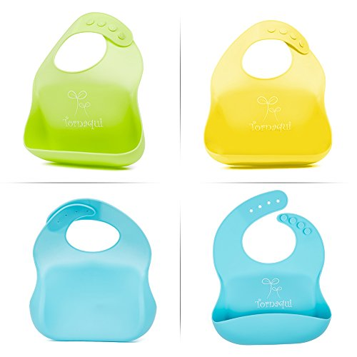 Waterproof Silicone Bibs, Soft Rubber Bib Wipe Off Roll Up Boys Girls Unisex, Set of 3 Baby Feeding Bibs for Toddlers