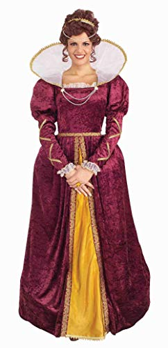 Forum Queen Elizabeth Dress and Crown, Purple, One Size (Renaissance Girl Adult Wig)