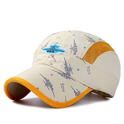 Home Prefer Kids Boys Lightweight Quick Drying Sun Hat Outdoor Sports UV Protection Caps Mesh Side Ball Cap Beige ()