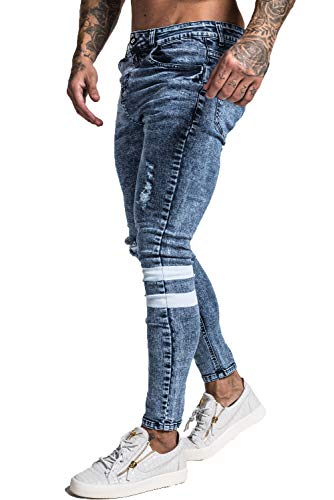 Jeans for Men Skinny Fit Blue Ripped Jeans Slim Fit Mens High Waist Stretch Jeans 30