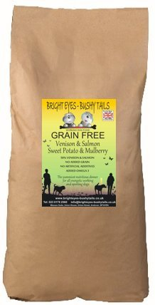 1 VENISON & SALMON, Sweet Potato & Mulberry GRAIN FREE Adult Dog Food 15Kg. Wheat free. Approved by Vets for dogs with sensitive digestion, intolerance to grains and wheat and prone to allergies