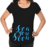 Awkward Styles Sea You Soon Pregnancy Announcement Maternity T Shirt Cute Baby Bump Funny Baby Shower Gift Black M