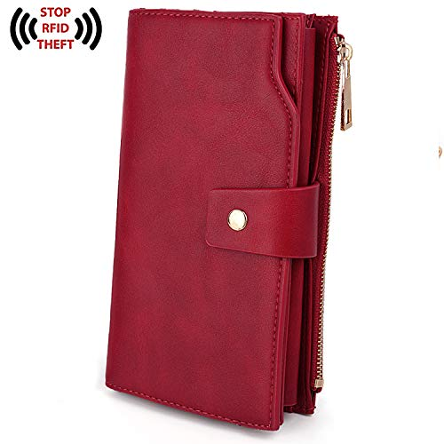 cking Large Capacity PU Leather Clutch Wallet 21 Card Slots Holder Organizer Ladies Purse with Wristlet Red ()