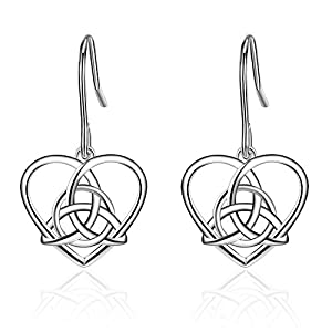 Sterling Silver Vintage Irish Celtic Knot Triangle Love Heart Dangle Earring JnQoAUbihi