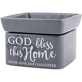 Elanze Designs God Bless This Home Love Grey Stoneware Electric 2-in-1 Jar Candle and Wax Tart Oil Warmer