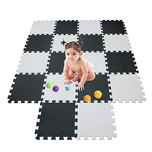 meiqicool Kids Foam Mat Non Toxic Crawl Mat Baby Tiles Play Puzzle Mat with Softer Thicker EVA Foam Mat for Kids Toddlers Babies Playrooms/Nursery Tummy Time and Crawling Style 101104