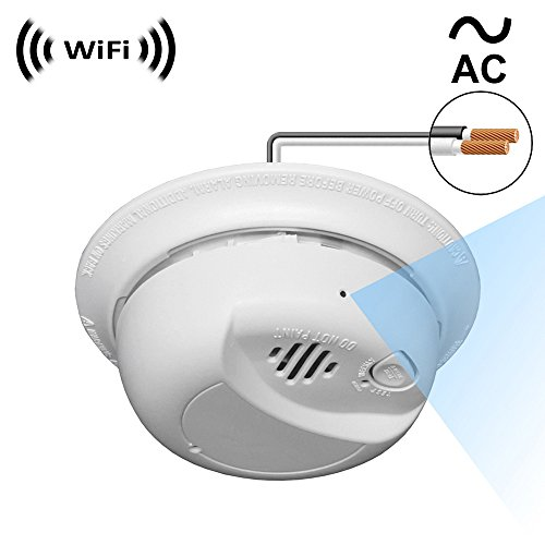 WF-404HAC Sony 1080p IMX323 Chip Super Low Light Spy Camera with WiFi Digital IP Signal, Recording & Remote Internet Access, Camera Hidden in a Fake Smoke Detector (Direct 110V ~ 220VAC Line Model)