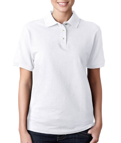 Anvil 8680 Ladies Pique Polo - White, Extra Large