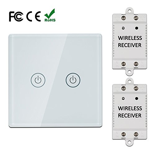LAGUTE 1-way Wireless Switch Kit,WIFI Smart Switch,Remote Control,No Wiring,1 Switch & 1 Receiver,Quick Install & Relocate,For Bedroom/Living Room and so on,Black (2-way, ()