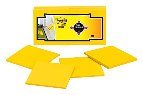 - Post-it Super Sticky Full Adhesive Notes, 2x Sticking Power, 3 x  3-Inches, Electric Yellow, 12-Pads/Pack