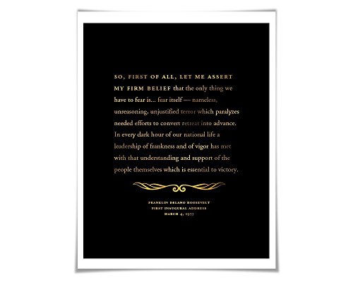 FDR Inauguration Speech Gold Foil Print. 36 Background Colours. American History Political Art Franklin Roosevelt Fear Itself