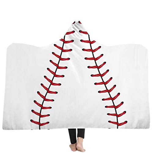 Redriver Baseball Pattern Sherpa Blanket Soft American Football Fans Cloak, Hooded Cape Style (B# 150x200cm(59.06x78.74in), 5)