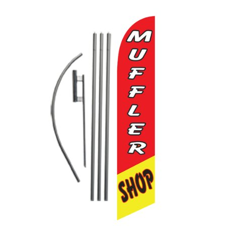 Muffler Shop 15ft Feather Banner Swooper Flag Kit - INCLUDES 15FT POLE KIT w/GROUND SPIKE
