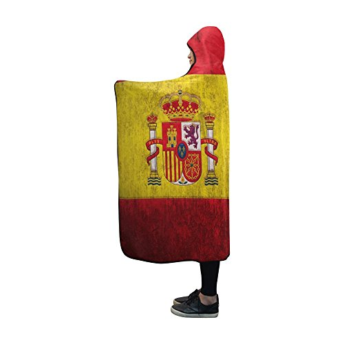 InterestPrint Hooded Blankets Flag of Spain or Spanish Throw Wearable Anti-pilling Polar Fleece Blanket Wrap 60x48 inch by InterestPrint