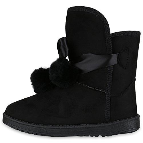 Stiefelparadies Damen Stiefeletten Schlupfstiefel Warm Gefütterte Stiefel Schuhe Flandell Schwarz Camargo