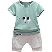 Amanod Newborn Infant Baby Cartoon Eyes T-shirt Tops Pants Outfits Clothes Sets