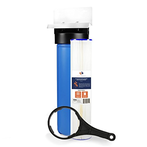 Big Blue 20'' Whole House Water Filter System (1''Port)+ Bracket+ Pleated Sediment by Aquaboon