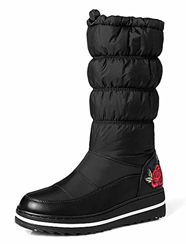 Winter calf On Wedge 2 Size Boots Lined Fur Women's Boots 5 Snow Waterproof BlackEmbroidery Platform 9 Warm GFONE Down Slip Mid 5 75wqFgZ