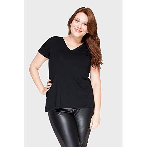 Camiseta Decote V Plus Size Preto-000G