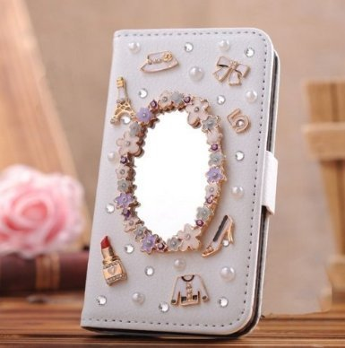 iPhone 7 Plus Wallet Case,Berry Accessory(TM) Luxury Handmade 3D Bling Crystal Rhinestone White Leather Wallet Purse Flip Card Pouch Stand Cover Case for iPhone 7 Plus - Magic Mirror