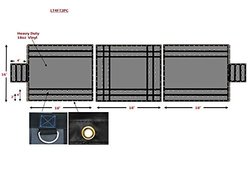 Mytee Products Trucking Flatbed Vinyl Tarp Heavy Duty 18oz 3 Piece Lumber Tarp (4' Drop) ()