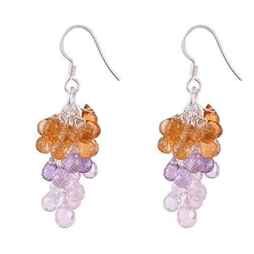 - Ratnagarbha Amethyst-Citrine-Rose Quartz Gemstone Drops Shape Grape Bunch Style Handmade Earrings