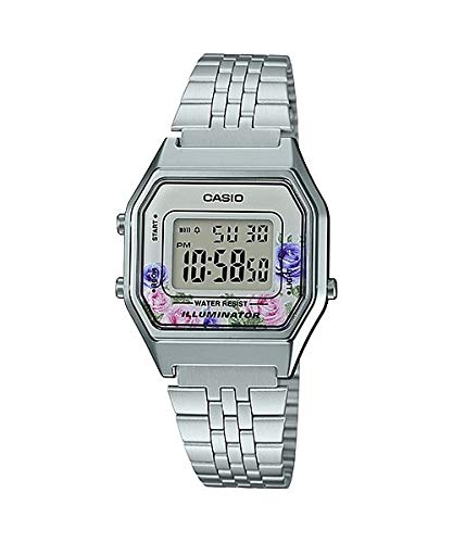 Casio LA680WA-4C Women's Vintage Floral Dial Alarm Chronograph Digital Watch ()