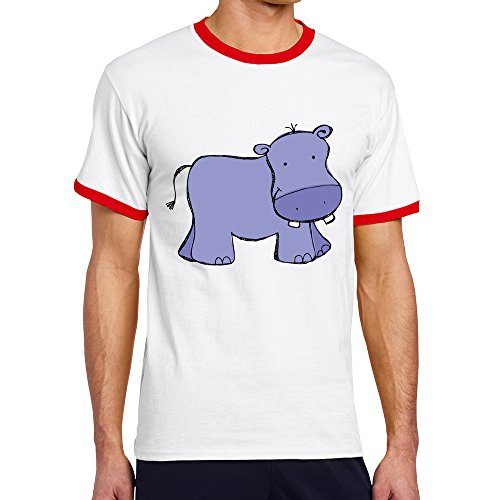 Vansty Happy Hippo Hit Color Silm T-Shirt For Men Red Size S