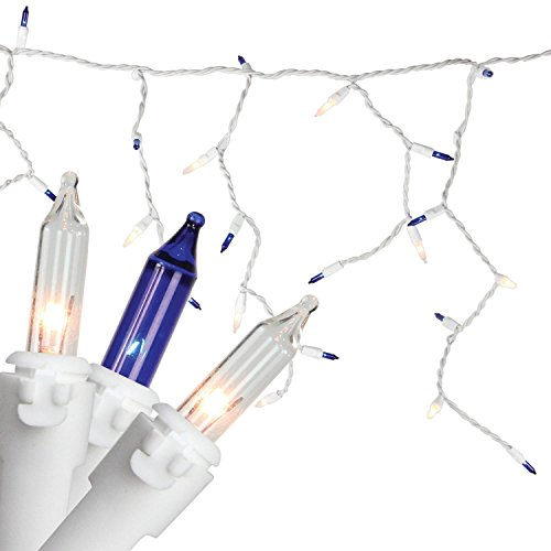 "Set of 100 Blue & Clear Mini Icicle Incandescent Christmas Lights 3"" Spacing - White Wire (Icicle Christmas Lights Blue)"