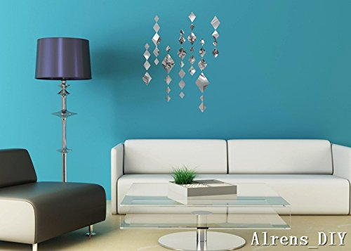Crystal Wall Decorations - Alrens_DIY(TM) Creative Rhombus Diamond Phombus Modern Crystal Reflective DIY Mirror Effect 3D Wall Stickers Home Decoration Decor Mural Decal adesivo de parede Removable