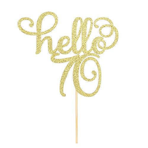 Hello 70 - Decoración para tartas, 70 cumpleaños/boda, aniversario, fiesta, carteles, decoraciones