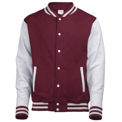Review Awdis Unisex Varsity Jacket (M) (Burgundy / Heather Gray)
