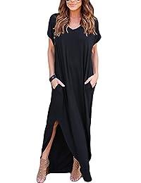 Women's Summer Asymmetric V Neck Short Sleeve Plus Size Column Shift Maxi Dress