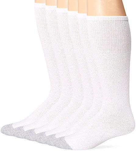 Fruit of the Loom Mens 6 Pk Over the Calf Socks, 2 Pk (12 Pairs), White, 6-12