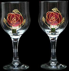 Celtic Glass Designs Set Of 2 Hand Painted Wine Glasses In