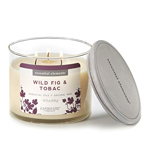 Candle Wick 3 Jar (Essential Elements by Candle-Lite Company Scented Wild Fig & Tobac 3-Wick Jar Candle, 14.75 oz, Off White)