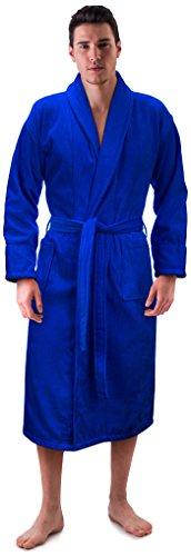 (Men's Terry Velour Shawl Collor 100% Cotton Bathrobe Made in Turkey (One Size, Royal Blue))