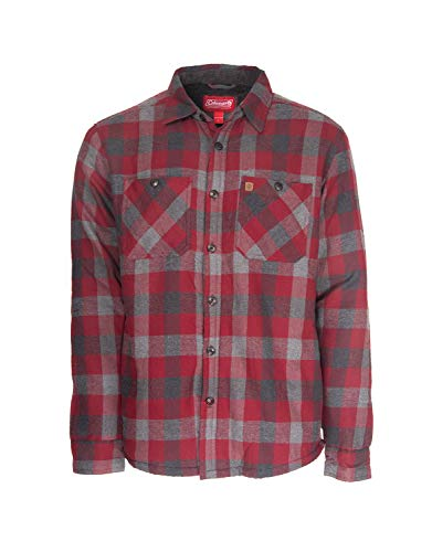 Coleman Cotton Flannel Shirt Jackets for Men with Sherpa Interior (XX-Large, Red Grey)