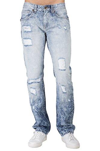 8167ae9eb30 Level 7 Men's Slim Straight Leg Cloud Blue Premium Denim Jeans Destroyed  Mended Size 44