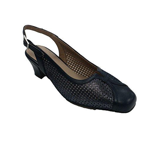 MADE IN SPAIN Zapato Vestir Mujer Cerrado Punta Abierto Atrás Trebede EN Azul