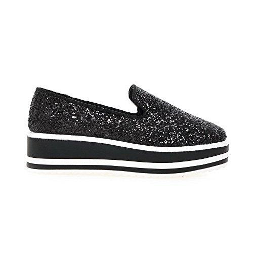 AllhqFashion Damen Ziehen auf Quadratisch Zehe Mittler Absatz Pailletten Rein Pumps Schuhe Schwarz
